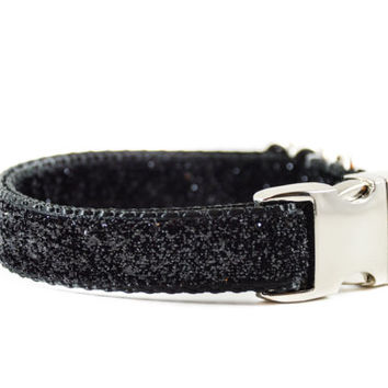 Black Sparkle Dog Collar - Wedding Dog Collar Glitterless Shimmer Sparkle Bling Formal Dog Collar with Metal Buckle Size Small Through Large