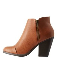 Tan Cap-Toe Zipper-Trim Ankle Booties by Charlotte Russe