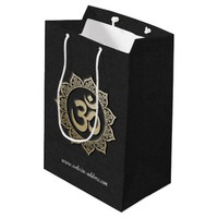 YOGA Meditation Instructor Black & Gold OM Mandala Medium Gift Bag