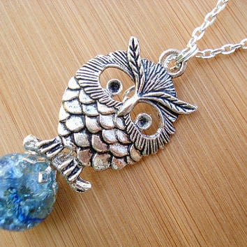 Retro Owl Blue Crackle Glass Marble Large Necklace