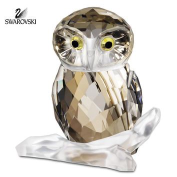 Swarovski Color Crystal Figurine OWL BROWN #1003326