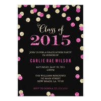 "Hot Pink and Gold Glitter Graduation Invitations 5"" X 7"" Invitation Card"