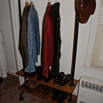Industrial Pipe on Oak Clothing Rack