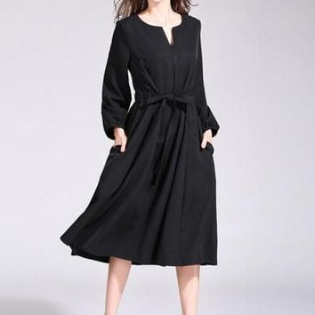 Plain Pockets Lantern Sleeve Women's Day Dress