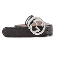 Gucci 17 S/S Men's Signature Leather Belt ( Size 40 - 41 Inch) Brown Authentic