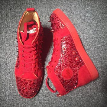 Cl Christian Louboutin Rhinestone Mid Strass Style #1916 Sneakers Fashion Shoes - Best Deal Online