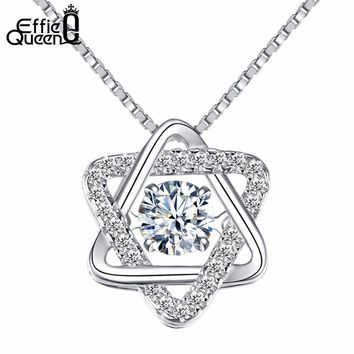 Effie Queen Simple Fashion 925 Sterling Silver Star Shape CZ Cubic Zirconia Pendant Necklace for Women Wedding Jewelry BN51