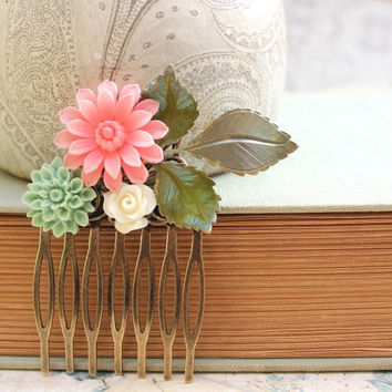 Floral Hair Comb Ivory Cream Rose Verdigris Green Leaf Aqua Mint Dahlia Patina Leaves Coral Pink Daisy Hair Accessories Brass Metal Comb