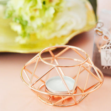Geometric Rose Gold Tea-light Candle Holder Votive for Wedding Decor