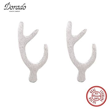 Dorado Pure 925 Sterling Silver Deer Antlers Head Stud Earrings for Women Unique Design Elk Animal Fashion Jewelry