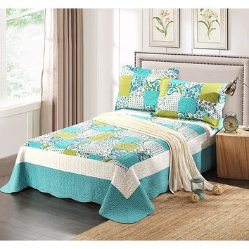 Tache 3 PC Floral White  Blue Green Spring Pond Bedspread Set (SDB0)