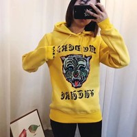 gucci women s tiger head sequins embroidery top sweater pullover hoodie