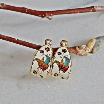 Vintage 1980s Cloisonne + Enamel Butterfly Earrings