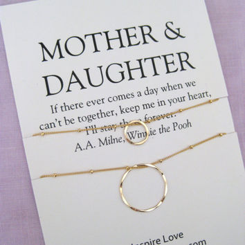 MOTHER Daughter Jewelry | Mother daughter Necklace | Mom and Daughter Jewelry | 50th birthday Gift for mom | 50Th BIRTHDAY Gift, Gold