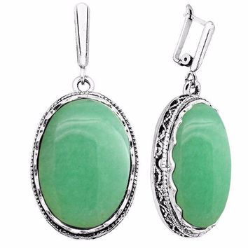 Natural healing Jade stone antique silver plated oval earrings