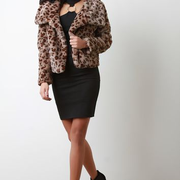Faux Fur Leopard Oversized Collar Jacket