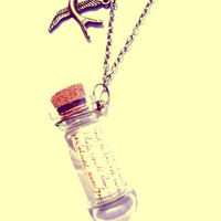Vintage Message In The Bottle Long Necklace - Free Shipping - Made to order :)