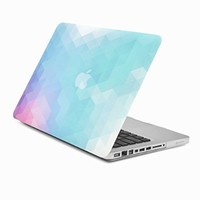 "Unik Case Purple Light Blue Gradient Ombre Triangular Galore Graphic Ultra Slim Light Weight Matte Rubberized Hard Case Cover for Macbook Pro 13"" 13-inch (Model: A1278 /with or without Thunderbolt)"