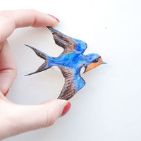 Swallow brooch, hand painted bird brooch