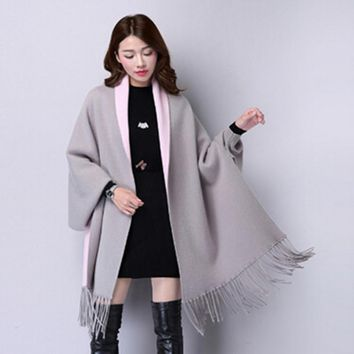 2017 Autumn New Women's Elegant Socialite Cashmere Tassel Cardigan Sweaters Batwing Sleeves plus size Outwear Good Quality shawl