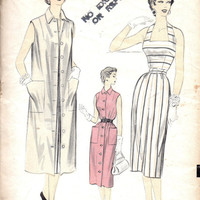 1950s Sewing Pattern Advance 6727 Halter Neck Wiggle Dress Sleeveless Coat Button Front Duster