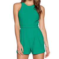 Black Halo Caely Playsuit in Green