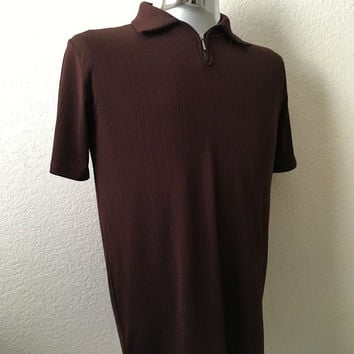 Vintage Men's 70's Mod Shirt, Short Sleeve, Brown, Pull Over (M)