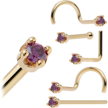 Solid 18KT Yellow Gold (Februray) 1.5mm Genuine Purple Diamond Nose Ring