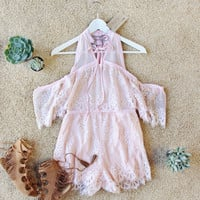 The Mick Lace Romper in Pink