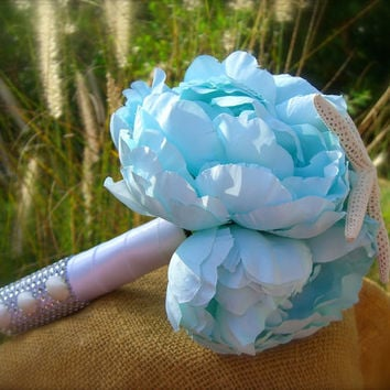 Bridal Bouquet Starfish Seashell Bouquet-PARADISE COVE-Beach Wedding, Bridesmaid Bouquet, Destination Wedding, Something Blue, Mermaid,Ocean