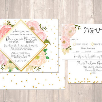 Gold and Pink Wedding Invitation with Gold Foil - PRINTABLE - Digital File
