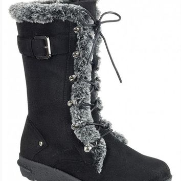 Women's Black Boots with Laces and Faux Fur