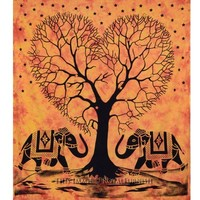 Orange Big Tie Dye Elephants With Love Tree Cotton Tapestry Bed Cover - RoyalFurnish.com