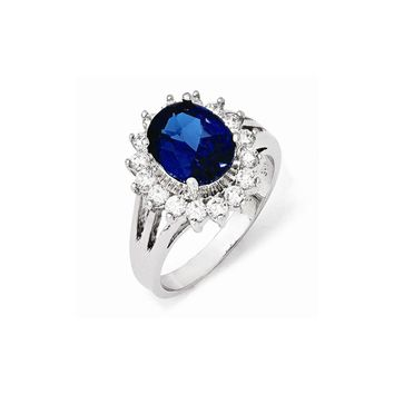 Sterling Silver CZ & Synthetic Dark Blue Spinel Ring