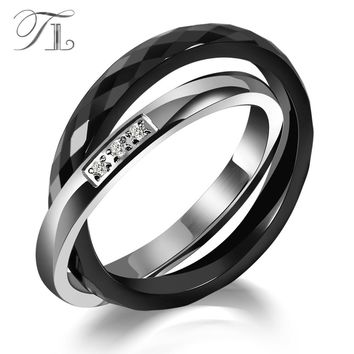 TL Ceramic Rings Black&Silver Zircon Cross Ring Anniversary Present Unique Design Fashion Stainless Steel Silver Rings For Women