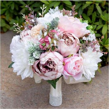 Elegant Artificial Flowers Peony Wedding Bridal Bouquet