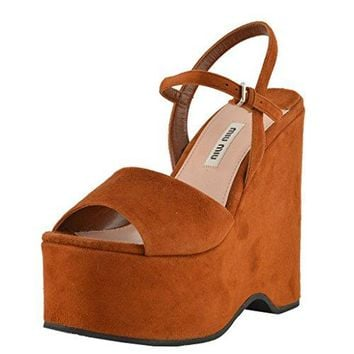 Miu Miu Women's Suede Leather Brown Platform Sandals Shoes