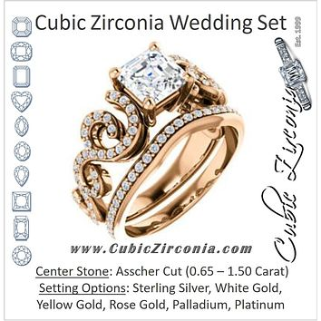 CZ Wedding Set, featuring The Carla engagement ring (Customizable Asscher Cut Split-Band Curves)