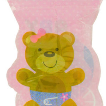 pink teddy bear flag party banner Case of 24