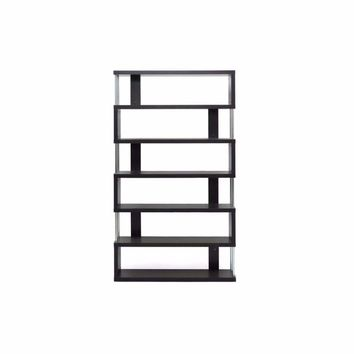Barnes Dark Brown Six-Shelf Modern Bookcase By Baxton Studio