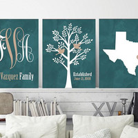 Family Tree State Wall Decor, Family Monogram Wall Art, Monogram Tree State CANVAS or Print, Custom Personalized Wedding Gift, Set of 3 Art
