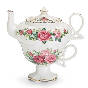 Summertime Red and Pink Roses Porcelain Tea For One