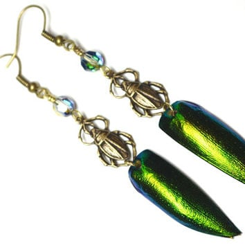 Beetle Wing Earrings Scarab Jewelry Egyptian Burning Man Style Elytra Green and Bronze Dangle Earrings Artisan Jewelry