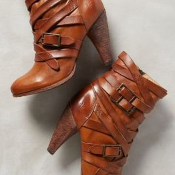 Frye Mikaela Strappy Booties Brown