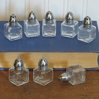 Individual Salt Pepper Shakers Set of 8 Square Clear Glass Silver Lids