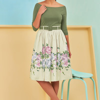 Belted cotton knit and floral dupioni dress