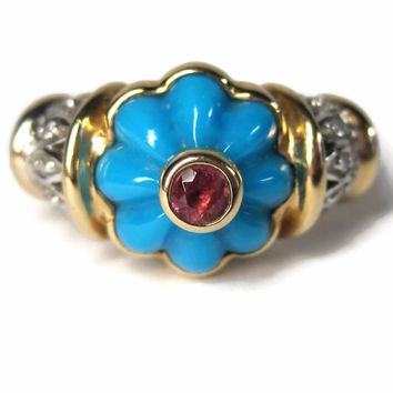 Vintage 14K Carved Turquoise Pink Tourmaline Diamond Ring Size 7