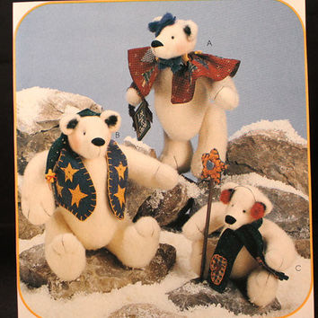 Stuffed Bear Patterns for 3 Snow Bearies Mama Papa by 7thStash