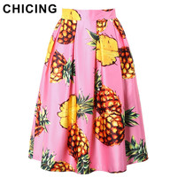 CHICING Women Fashion Pink Pineapple Printed Pleated Midi Skirt 2017 Spring Summer Ladies Skater Skirts Saia Femininas A1703095