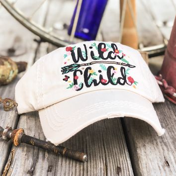 Wild Child Floral Arrow Embroidery Women's Hat